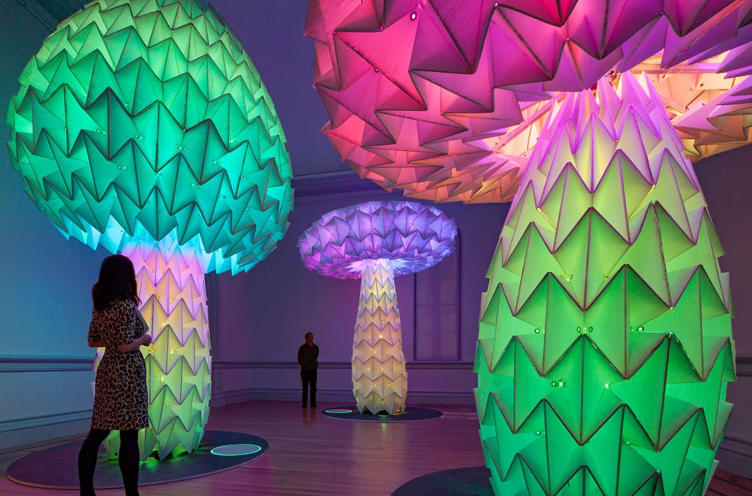 """The """"Shrumen Lumen"""" installation (which changes shapes and colors)was designed by the Bay Area–based art collective FoldHaus for Burning Man in 2016."""