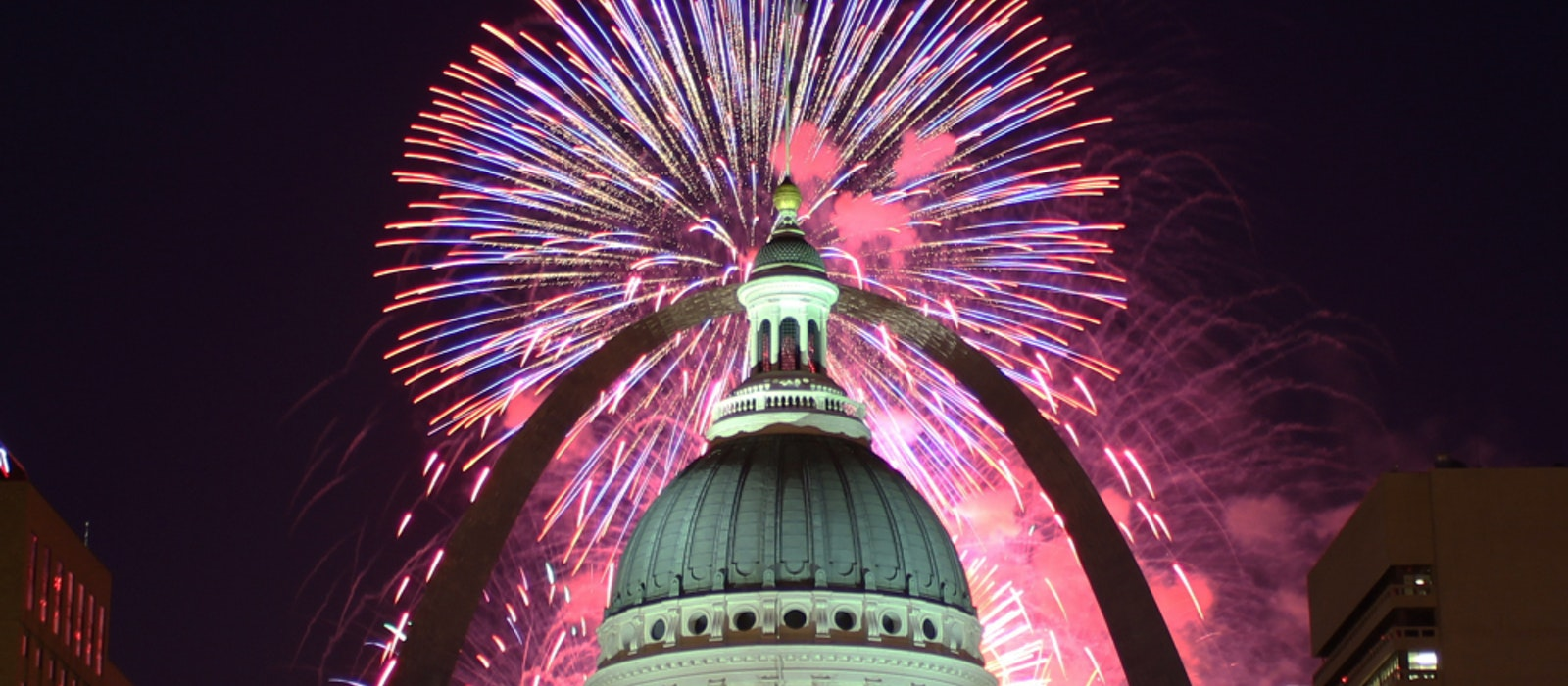 Spend the Fourth of July with fireworks above the Arch in St. Louis, Missouri.