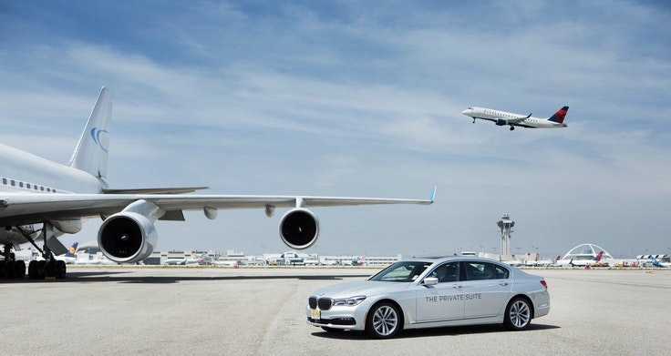 The Private Suite's sweetest perk is a chauffeur-driven ride to your flight across the LAX tarmac.