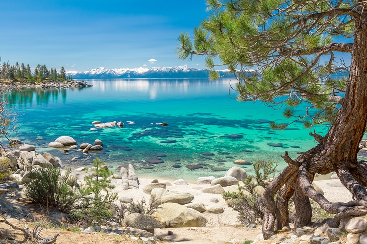 In-the-know beach lovers can seek out Secret Cove on the Nevada side of Lake Tahoe, where the turquoise water could stand in for the Caribbean.