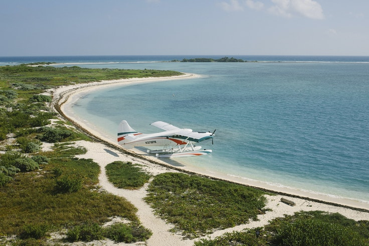 You'll need to hop a seaplane or boat to visit the quiet, lonely beaches of Dry Tortugas National Park.