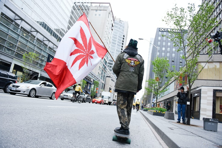 A legal weed supporter during the Global Marijuana March in Toronto in 2017. Canada just became the first G7 nation to start legally selling recreational cannabis.