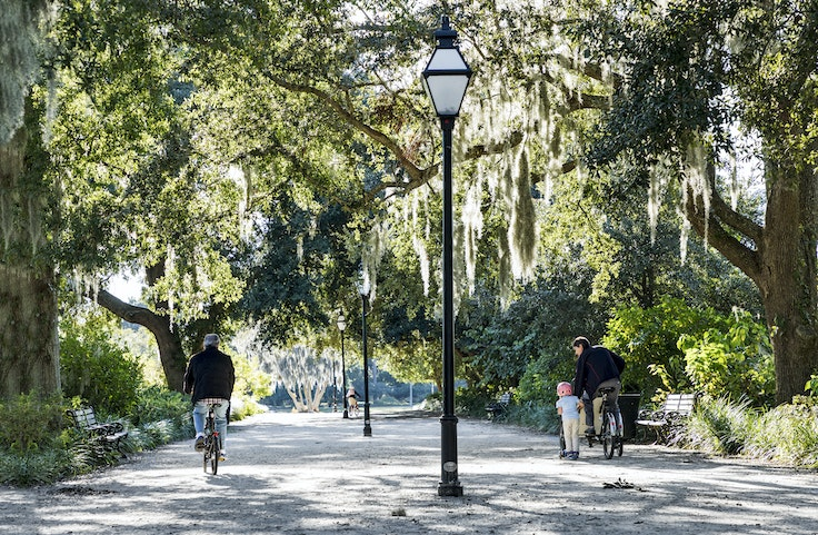 Charleston's Hampton Park is a 60-acre green space with ample walking and biking paths.