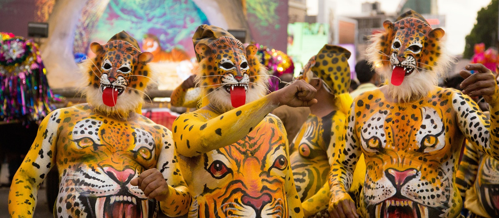 For the first time in its 200-year history, women joined the tiger festival in Thrissur, in Kerala state.