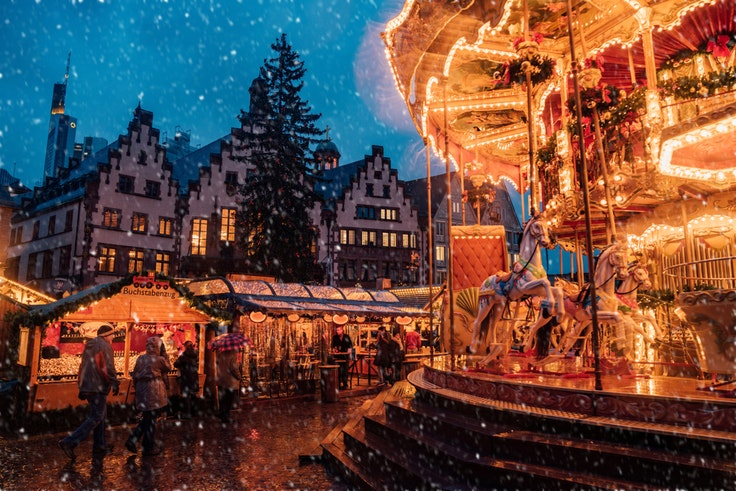 Christmas markets, like this one in Frankfurt, have been a tradition in German-speaking countries for hundreds of years.