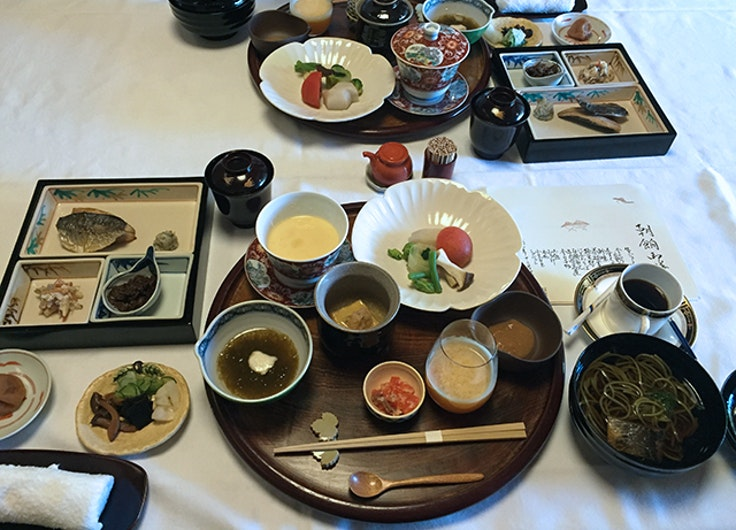 The kaiseki-style breakfast served at Yagyu-No-Sho.