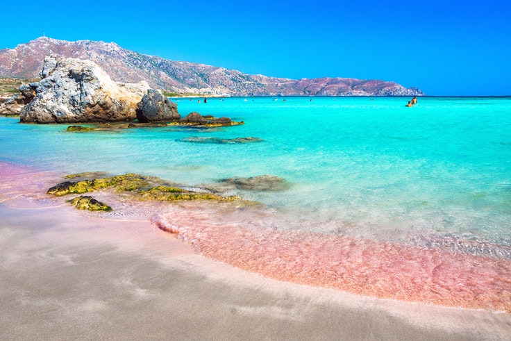 Elafonsisi, in Greece, is popular for its mild temperatures and clear Mediterranean waters.