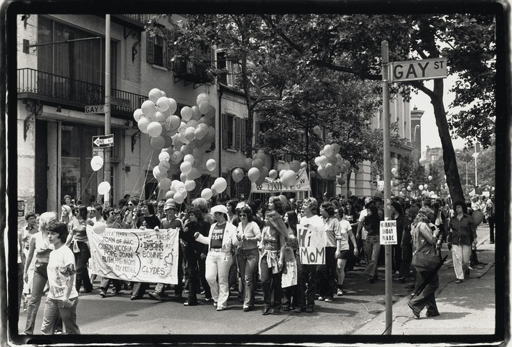 A view of paradegoers during the fifth annual Christopher Street Liberation Day March at the intersection of Gay and Christopher streets in New York City on June 30, 1974