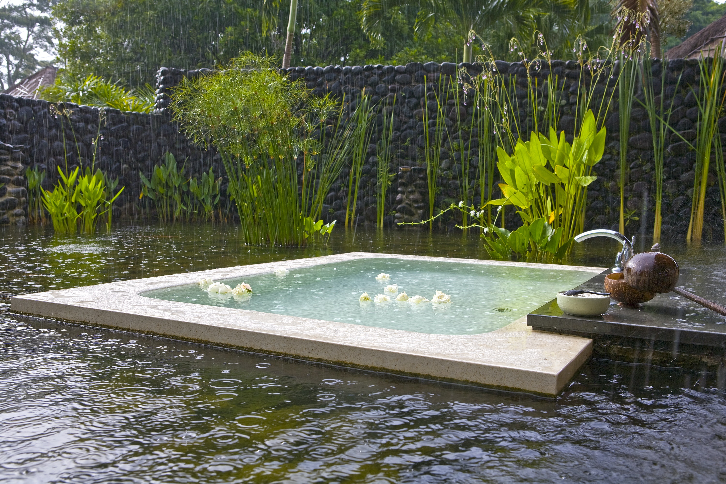 The outdoor bathtubs at Alila Ubud are sunk in a lotus pond.