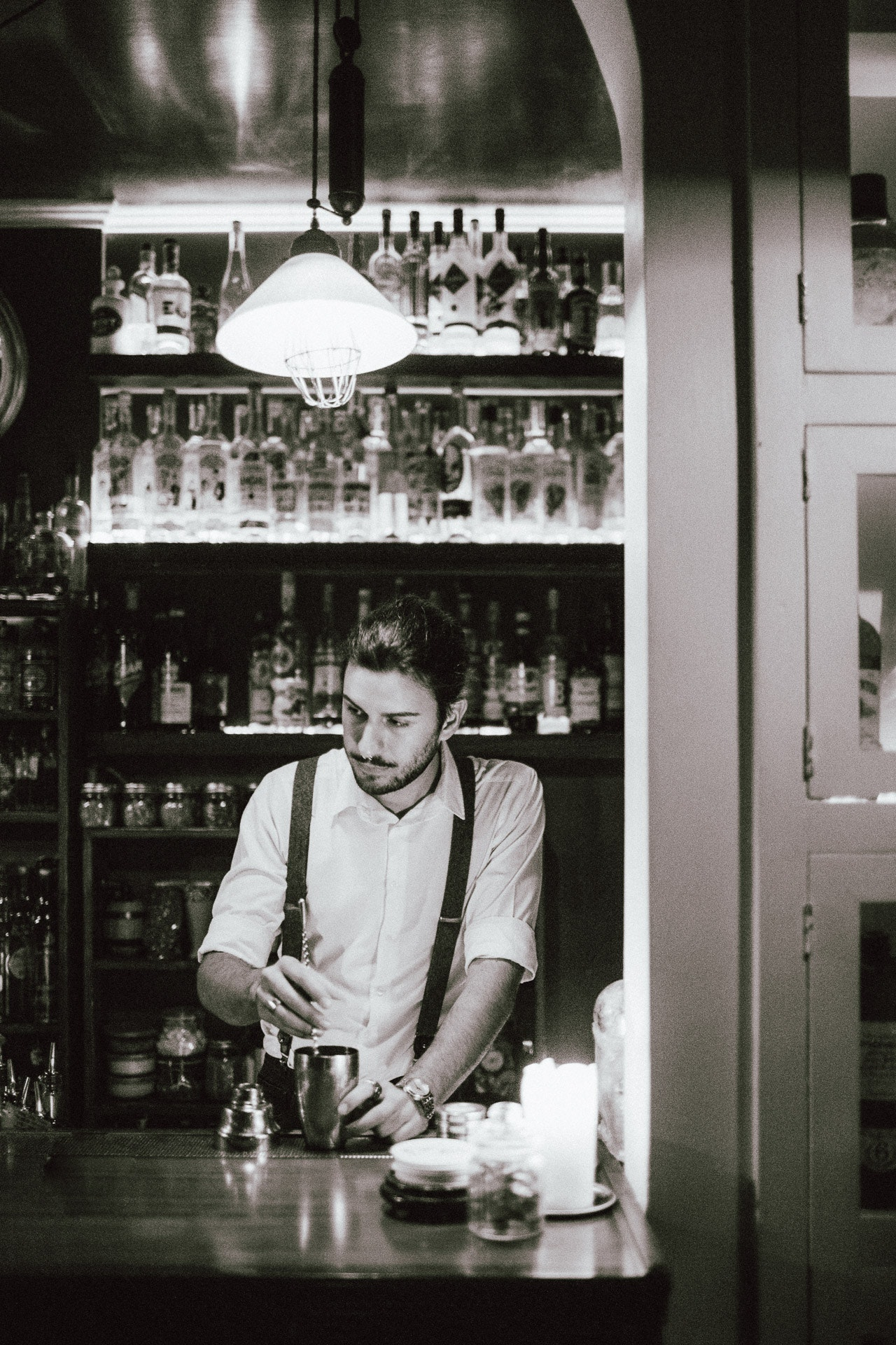 Bartender at The Jerry Thomas Speakeasy. Photo by Tanveer Badal