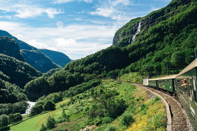 Keep your eye out for waterfalls along the Flam Railway.