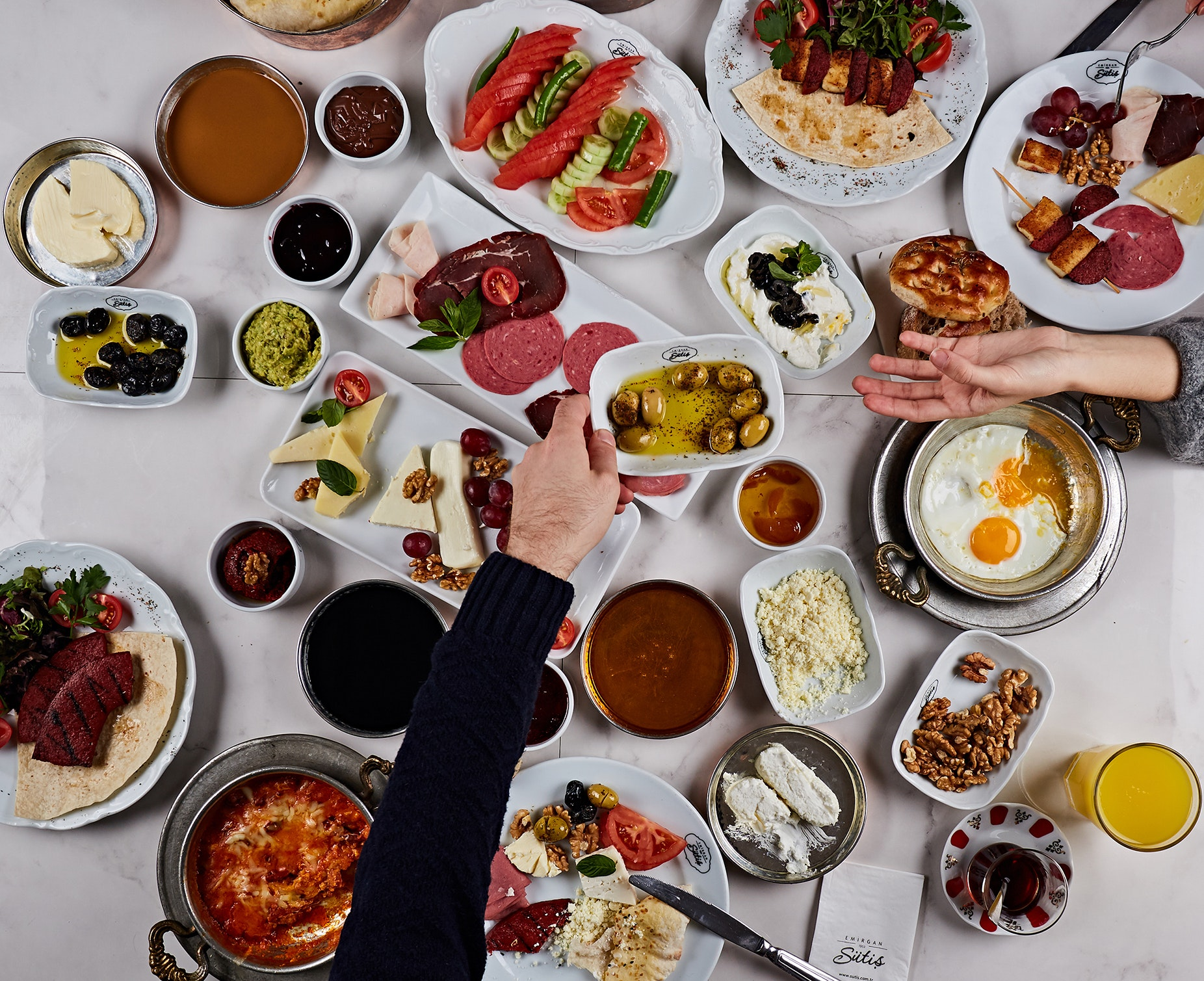 A traditional Turkish breakfast spread