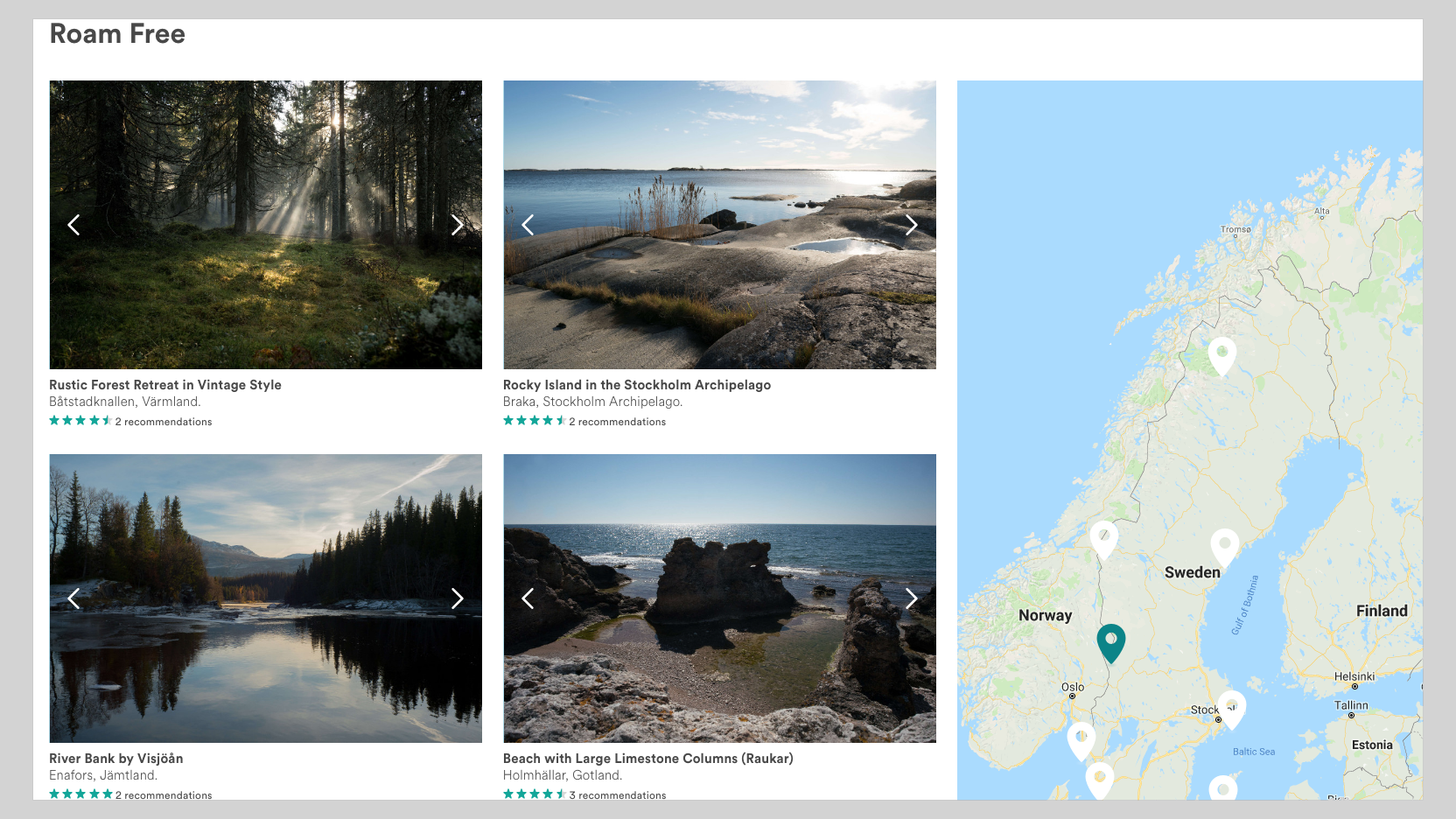 Sweden's Airbnb page lists examples of landscapes around the country that are open for exploration.
