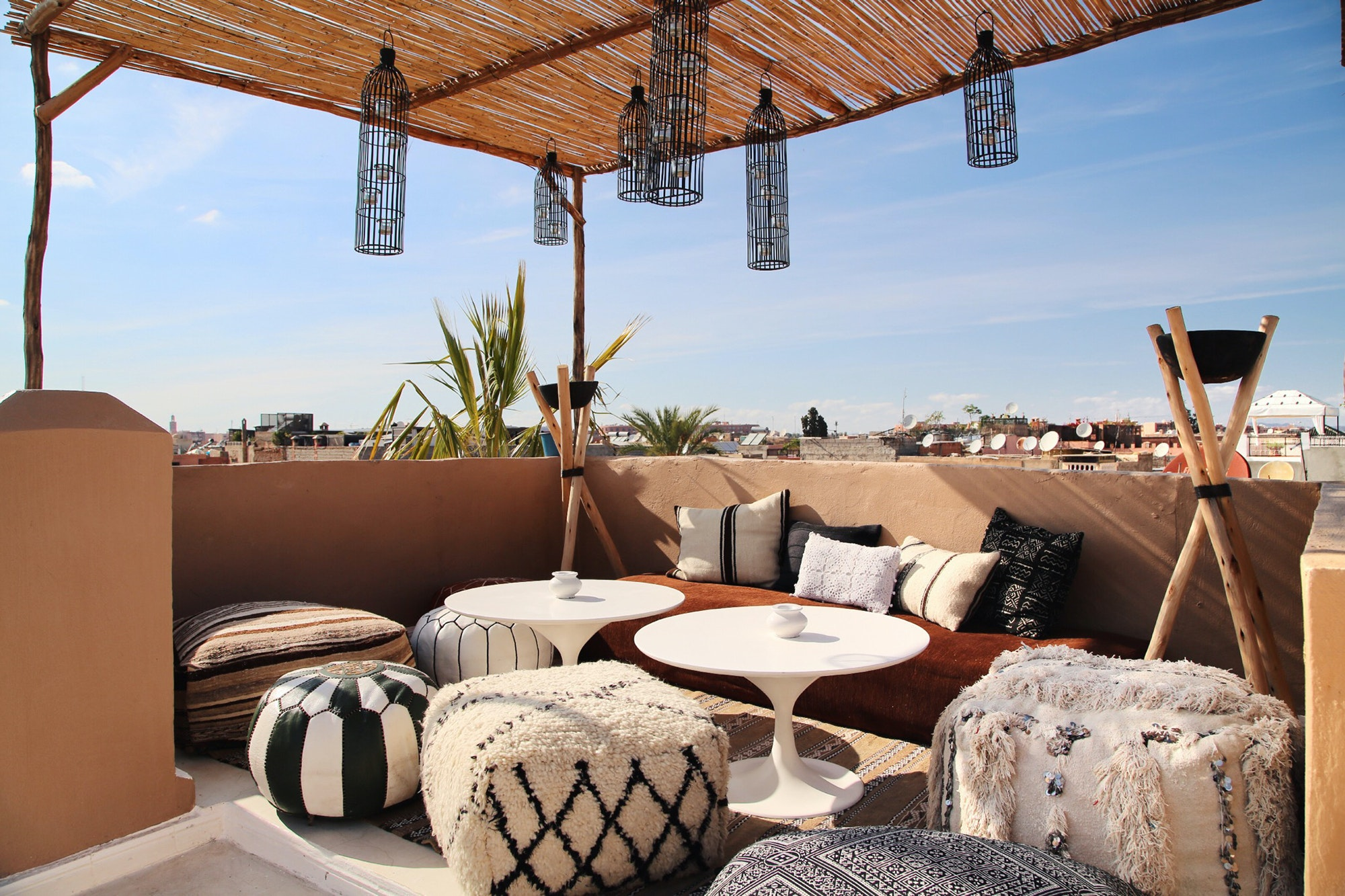 The rooftop lounge at Riad Shiraz offers sweeping views of the city.