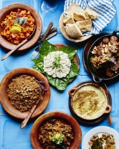 A Moroccan lunch spread at Auberge Dardara