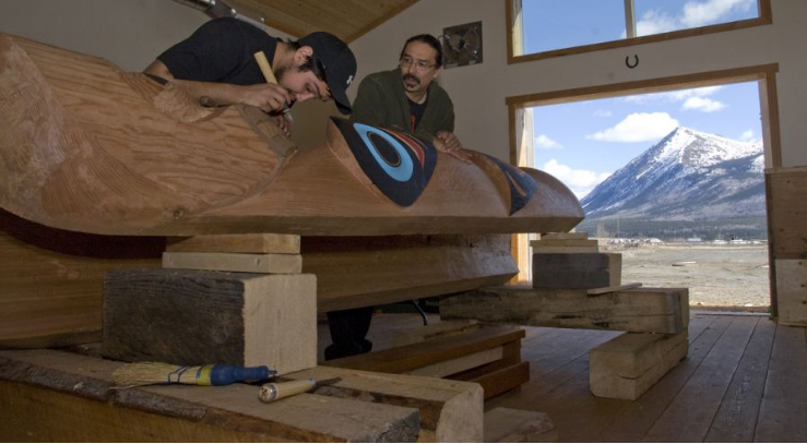 Keith Wolfe Smarch, a master carver based in Carcross in the Yukon Territory
