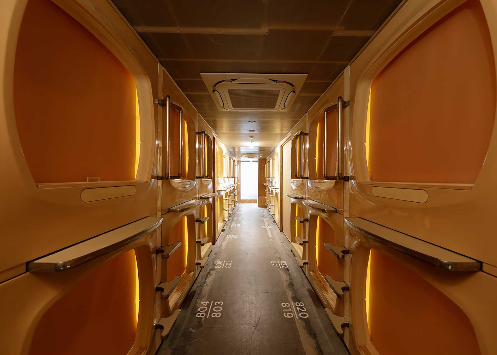 Do-C channels the retro vibe of a capsule hotel with a modern twist.
