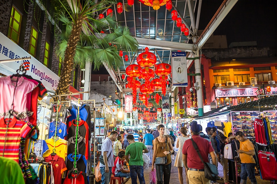 April is the cheapest month to fly to Malaysia, connecting visitors with ample food, clothing, and craft markets.