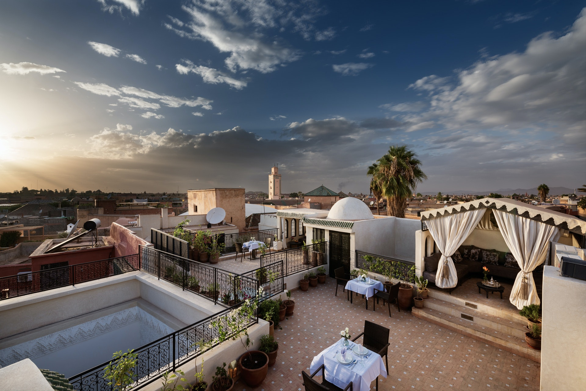 The expansive Riad Star was once the home of Josephine Baker; its rooftop terrace features three separate lounge areas.