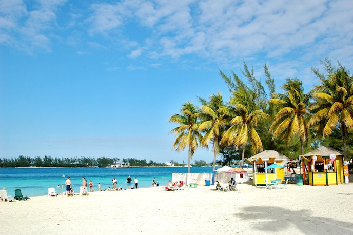 White sand beaches are typical throughout the Bahamas, including Nassau, the capital.