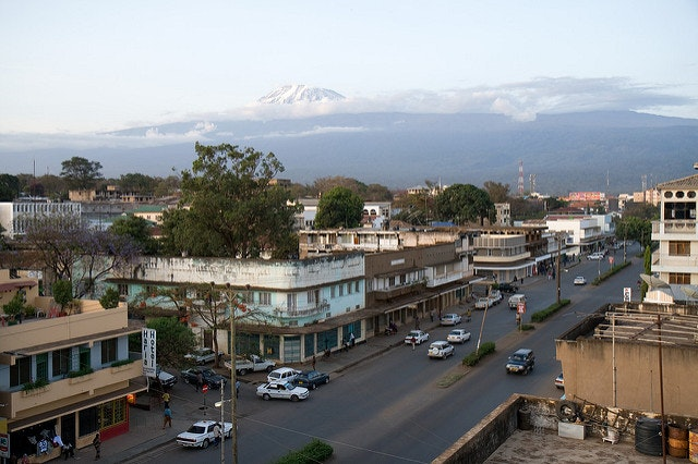 View of Mount Kilimanjaro from Moshi, the local administrative capital