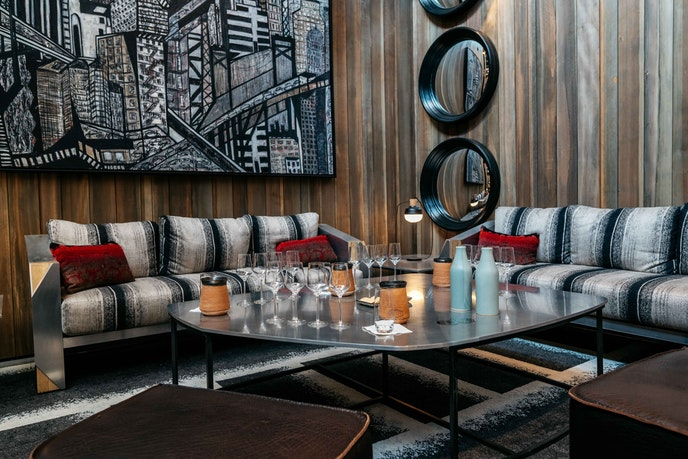 Guests can sit on cozy couches while tasting at Prisoner Wine Company.