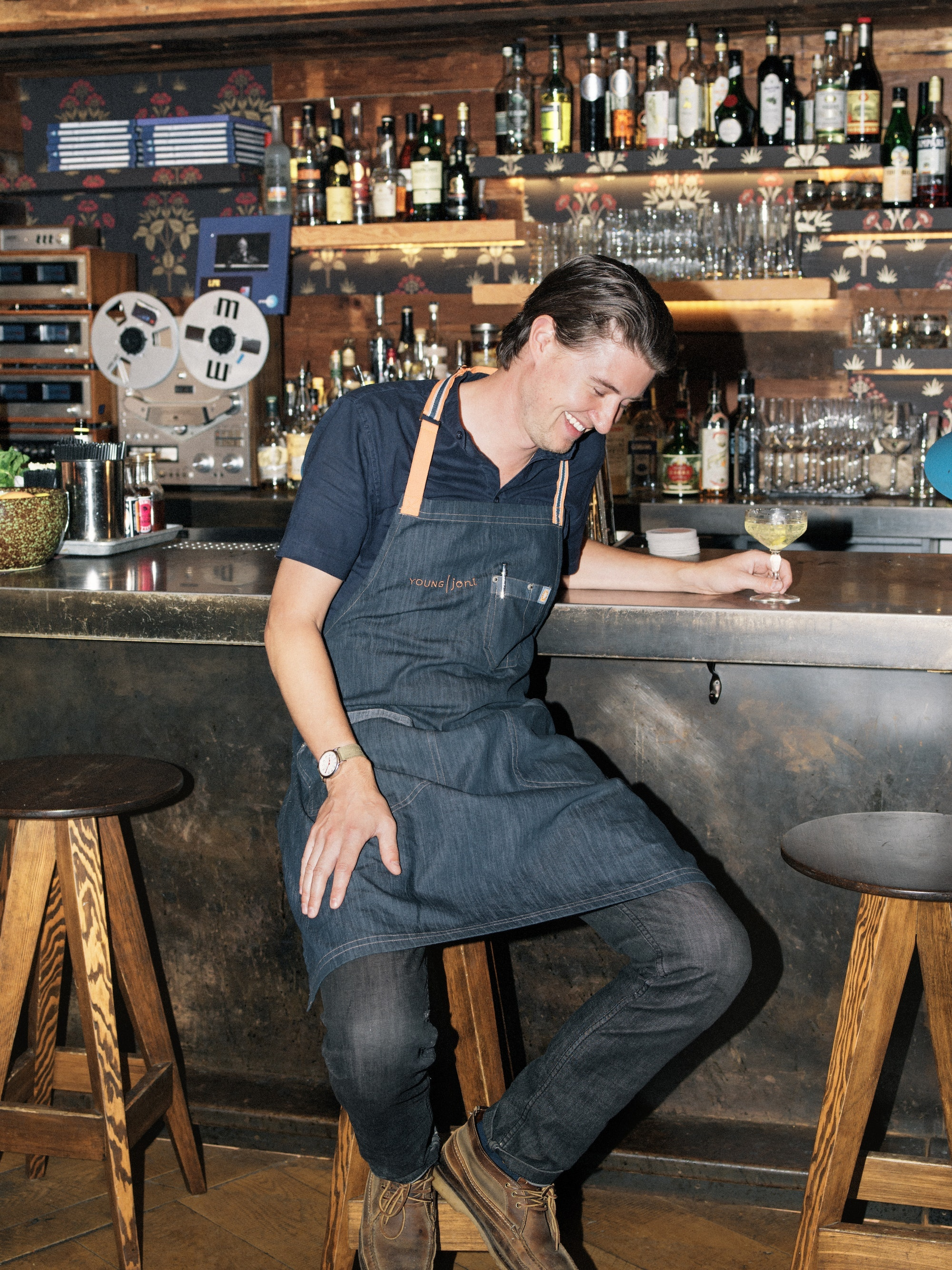 Three times a year, bar director Adam Gorski chooses a new theme and overhauls the entire cocktail menu at Young Joni's Back Bar.