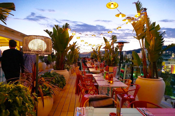 The rooftop bar at Mama Shelter