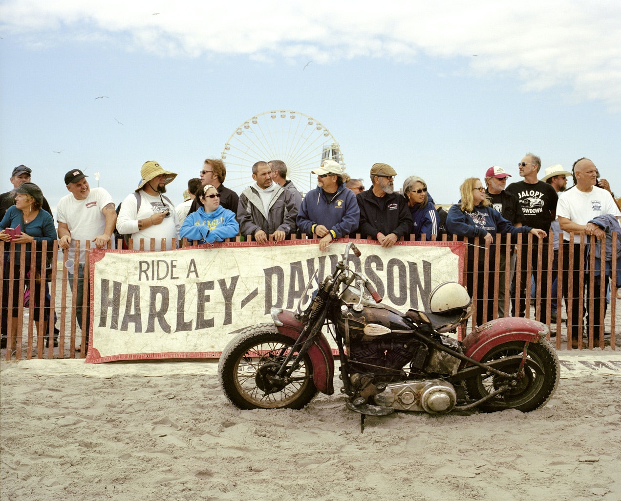 """Vintage cars and motorcycles compete in """"The Race of Gentlemen"""" on the beaches of Wildwood, New Jersey."""
