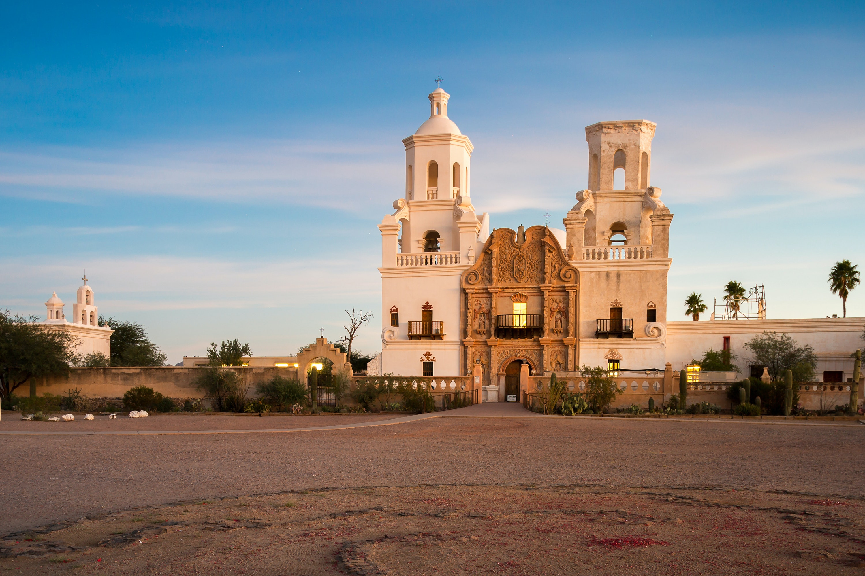 Cap off the day by watching the sunset at one of Tucson's historic landmarks, like Mission San Xavier del Bac.