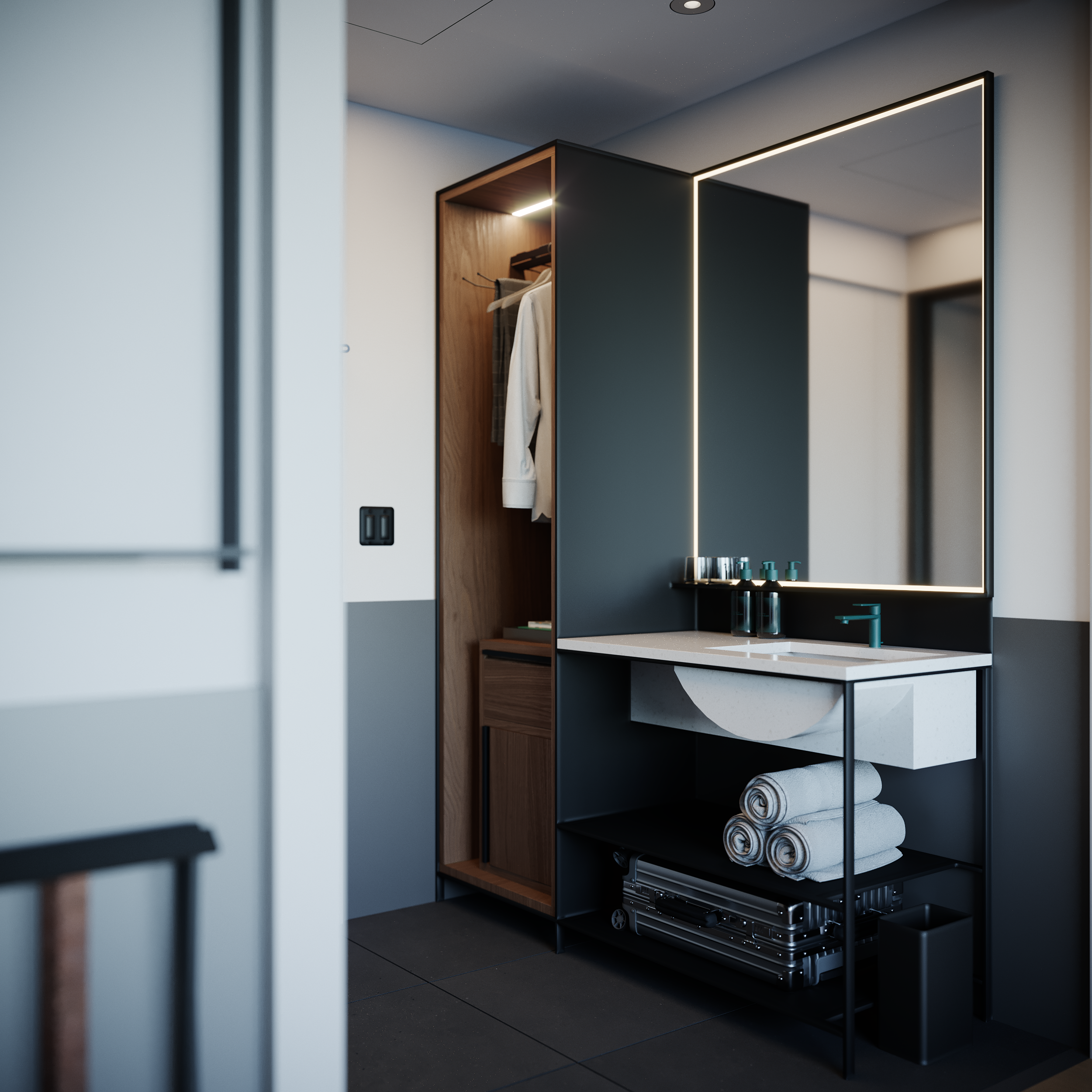 A rendering of the vanity area in a mock-up Motto guest room