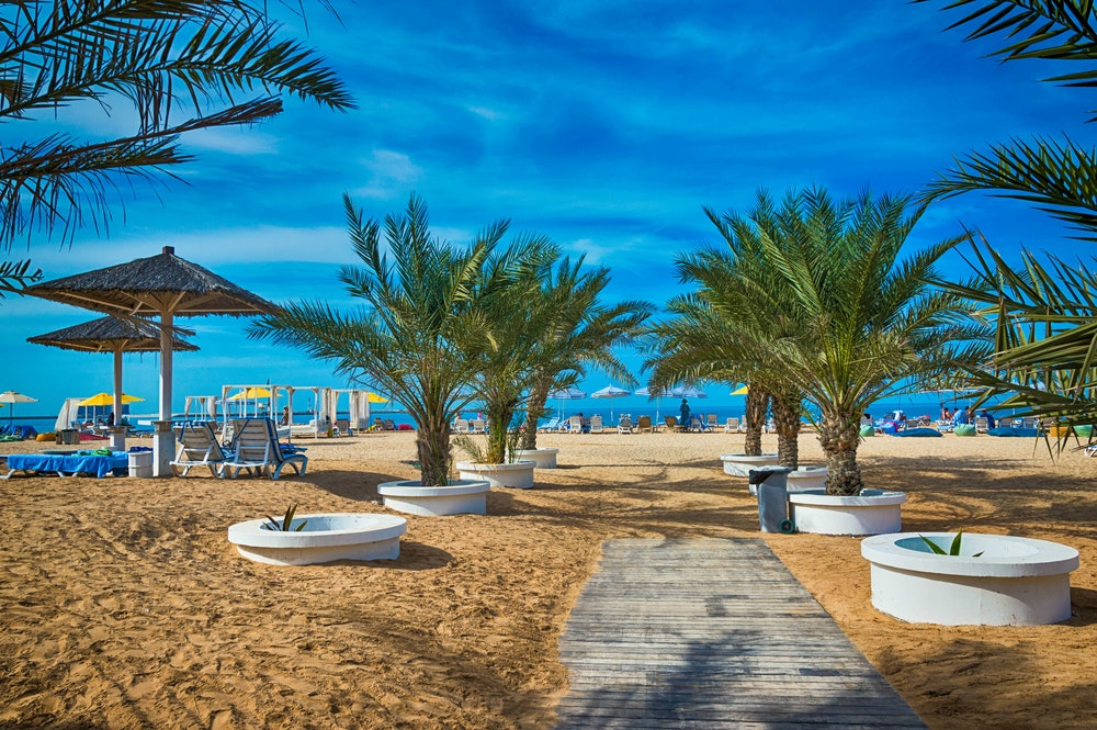 Situated north of Dubai, lesser-visited Ras Al Khaimah is home to several golden-sand-and-shell beaches.