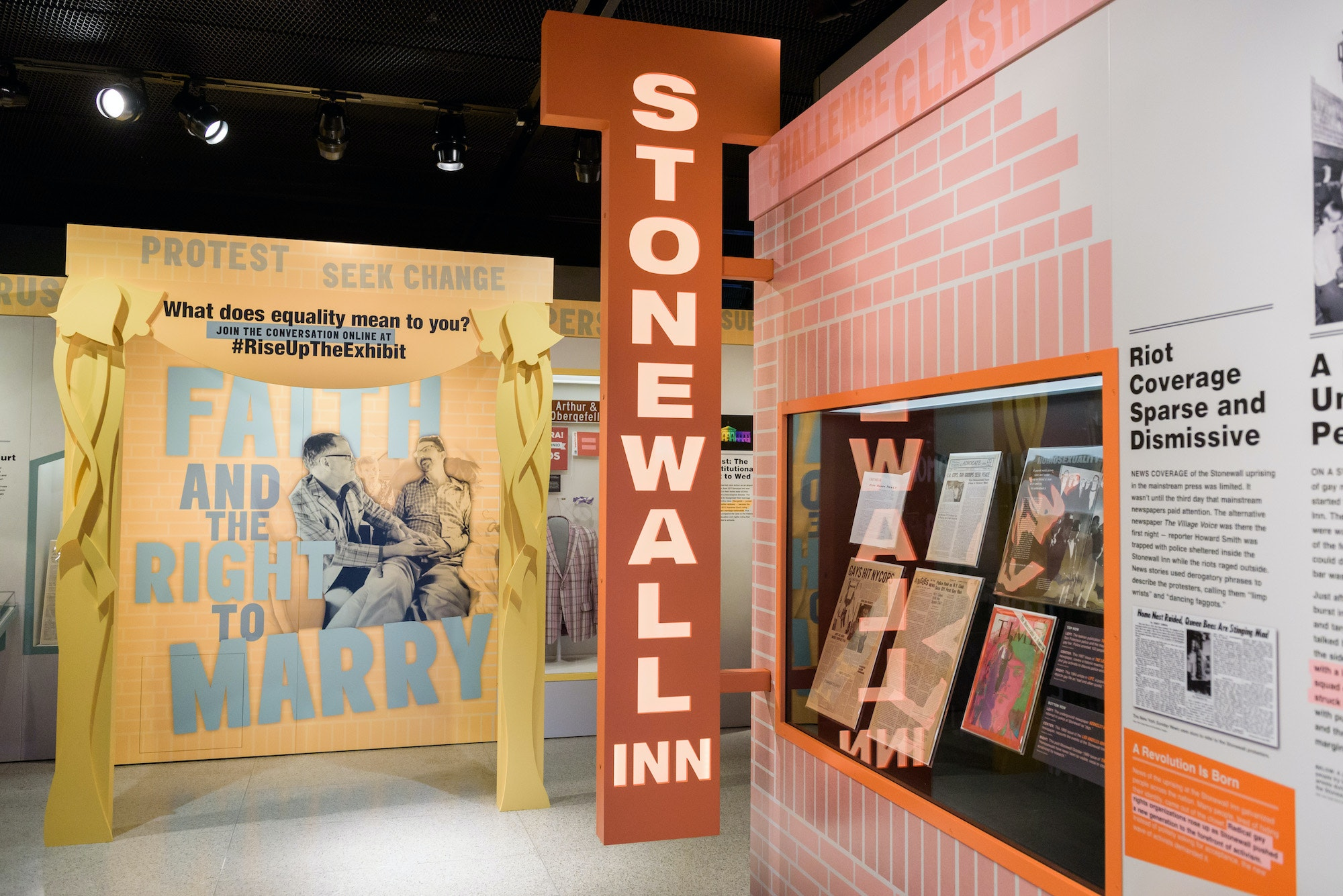 """An installation at """"Rise Up: Stonewall and the LGBTQ Rights Movement"""" at the Newseum."""