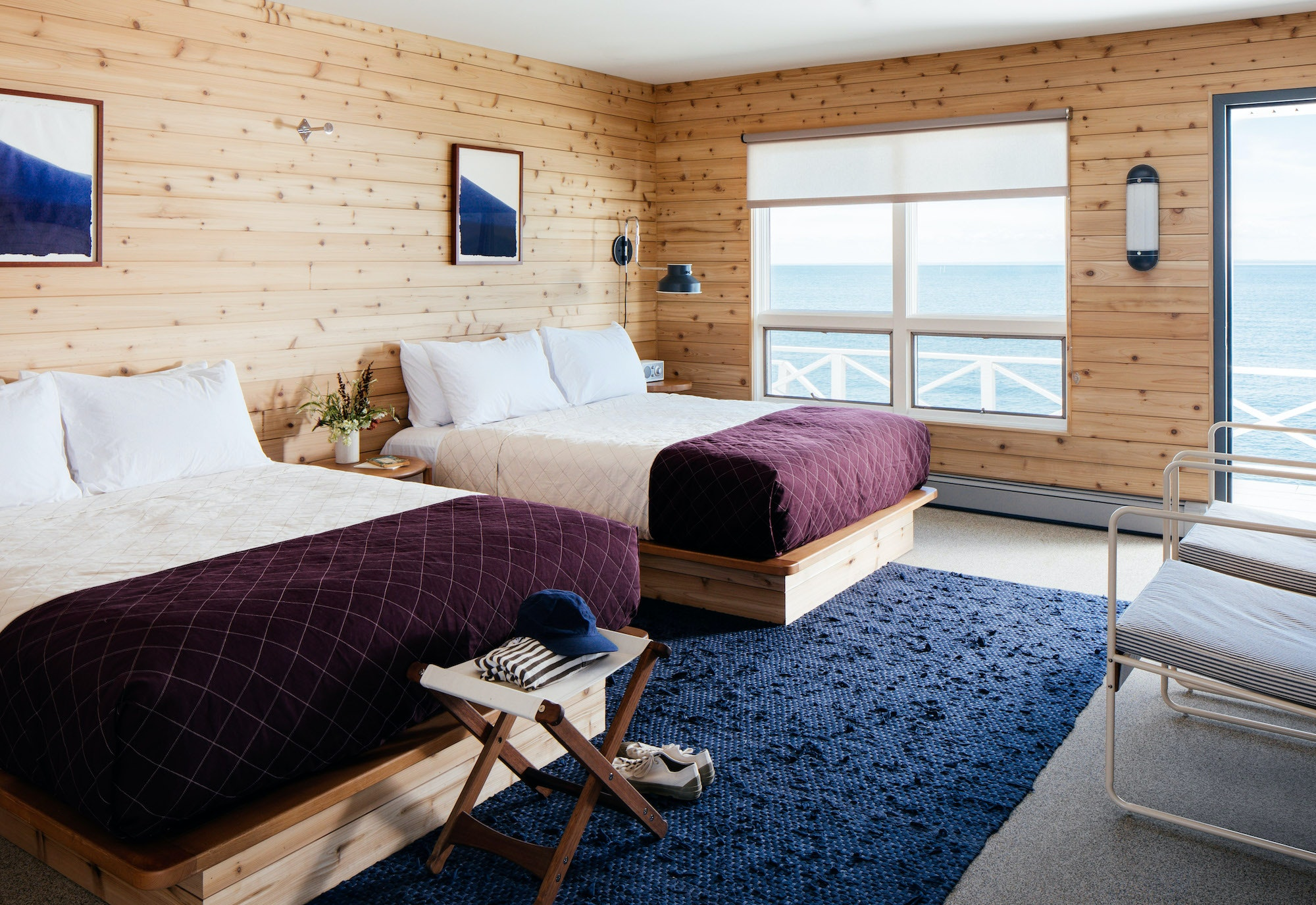 The interiors of Sound View Greenport's 55-guest rooms are inspired by modernist beachside homes.