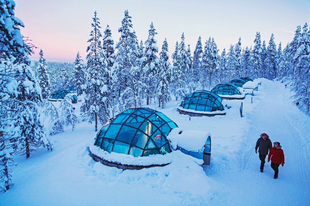 Gaze at the sky from a glass igloo on Collette's Northern Lights trip.