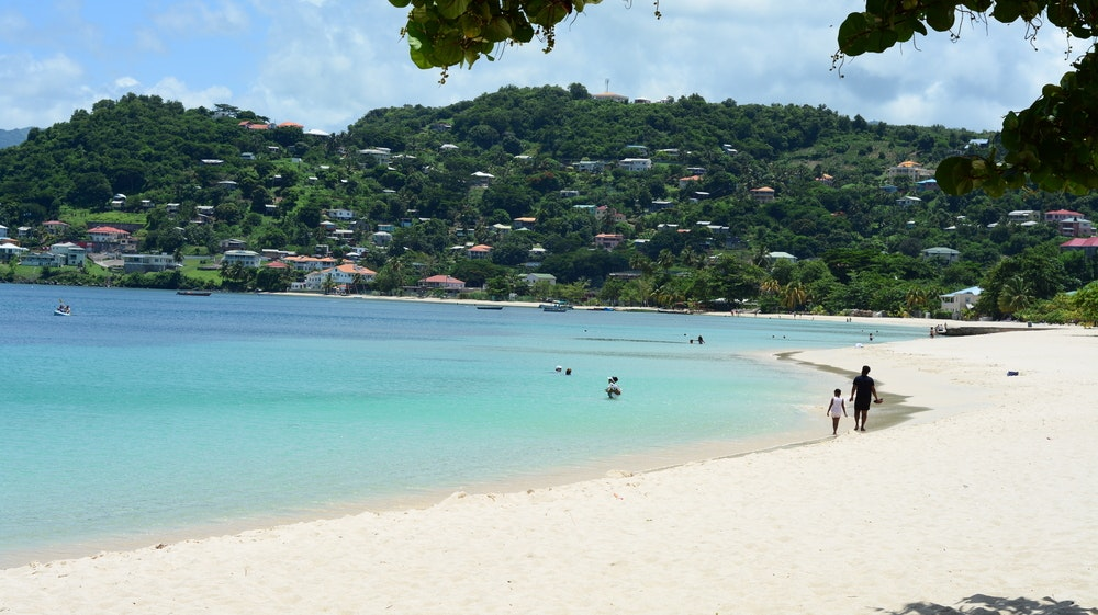 Take a walk on the white sand beach in St. George's, the capital of Grenada.