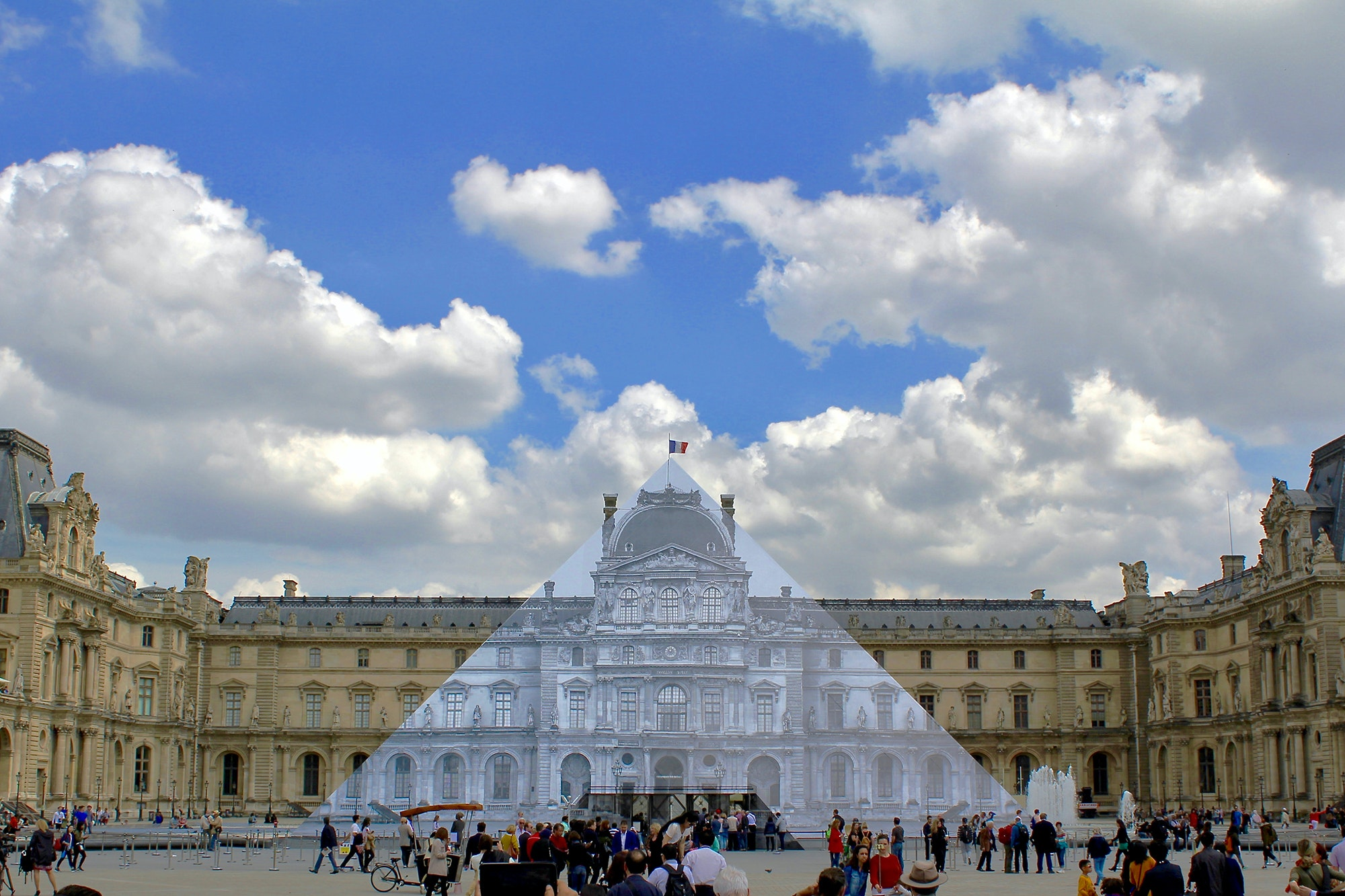 JR collaged the Louvre pyramid once before in 2016.