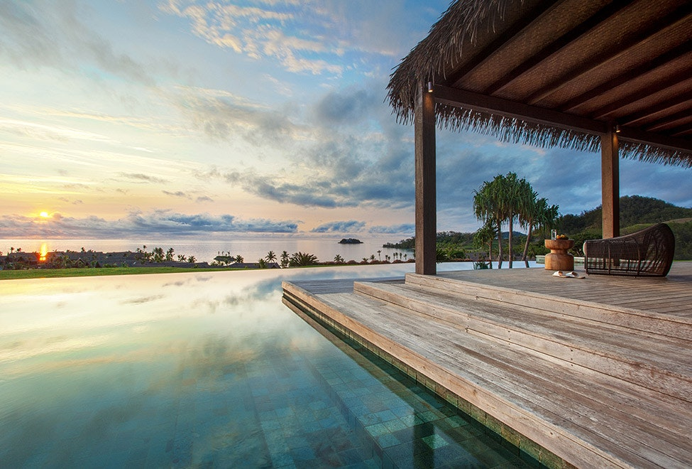The pool of a residence at Six Senses Fiji