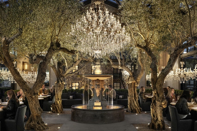 Eat underneath 100-year-old olive trees at the restaurant at RH Yountville.