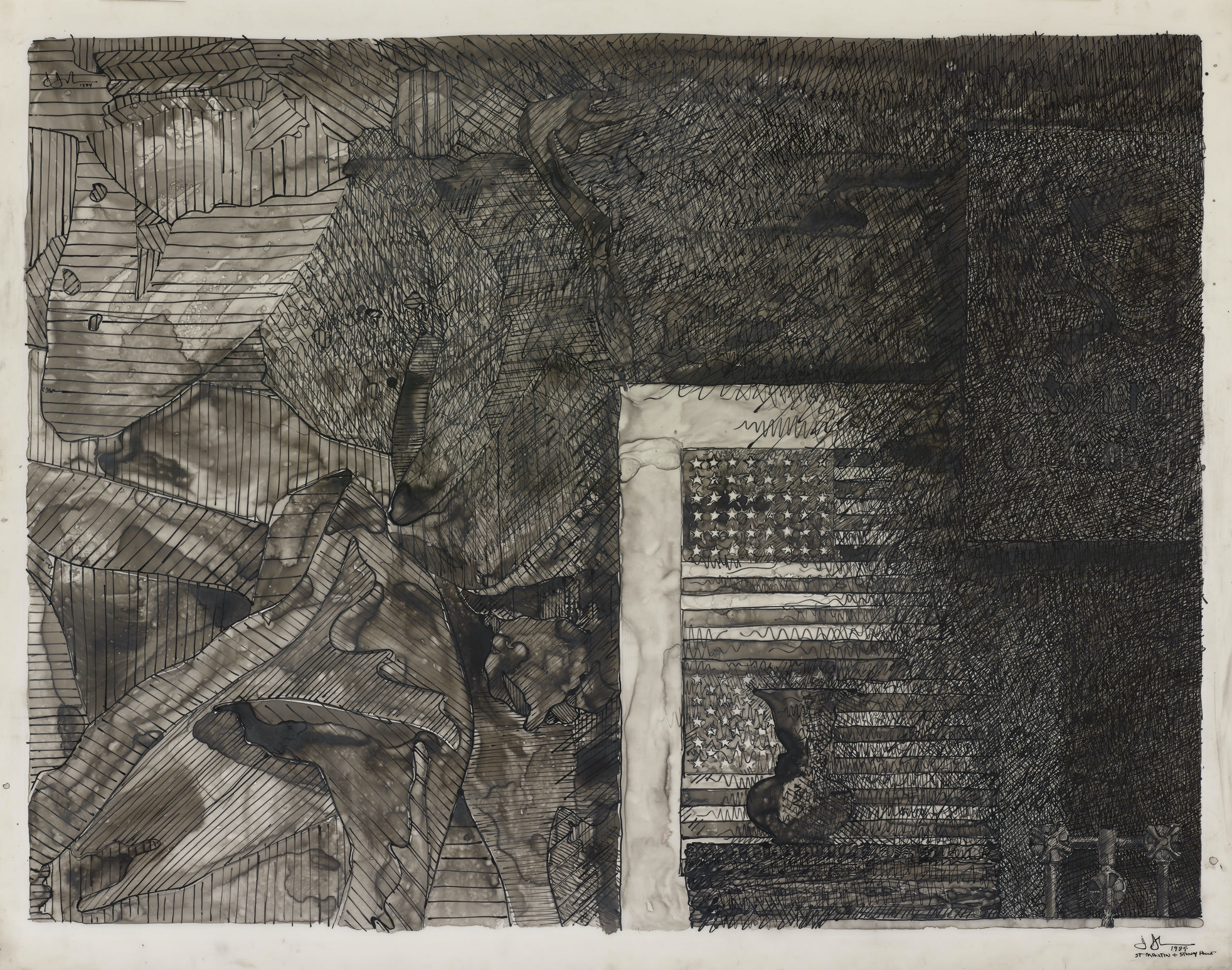 "The Jasper Johns exhibition at Houston's new Menil Drawing Institute will feature such works as ""Untitled"" (1984)."