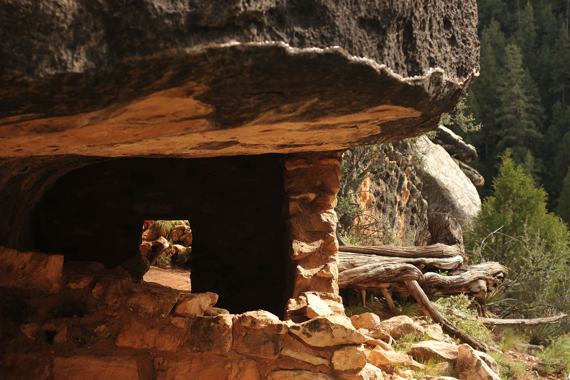Walnut Canyon National Monument is one of the few protected pueblo sites where visitors are still allowed to enter the ruins and peer through their windows.