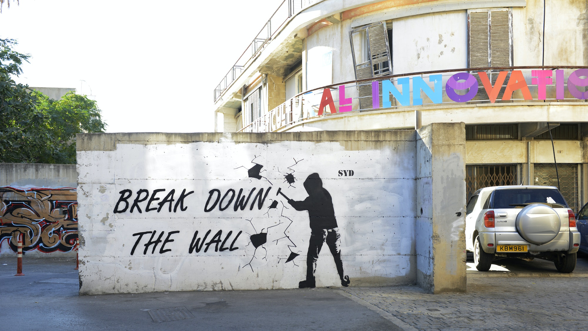 Street artist SYD's Pink Floyd-inspired mural in Nicosia, Cyprus.