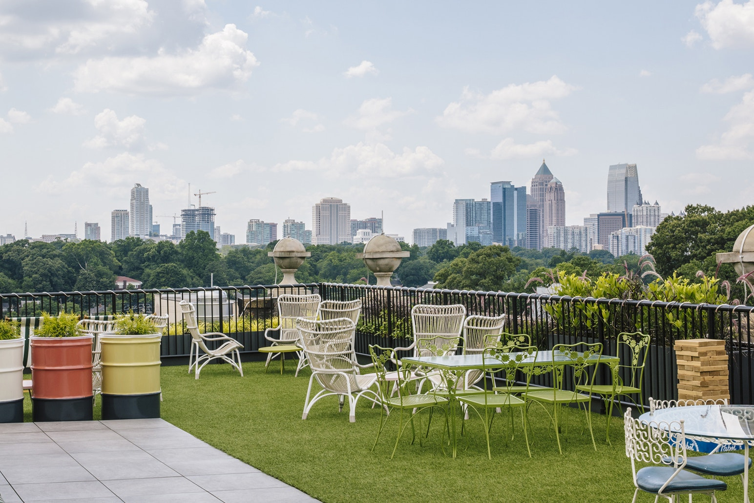 At the Hotel Clermont in Atlanta, a rooftop terrace offers a prime perch for cityscape views all winter long.