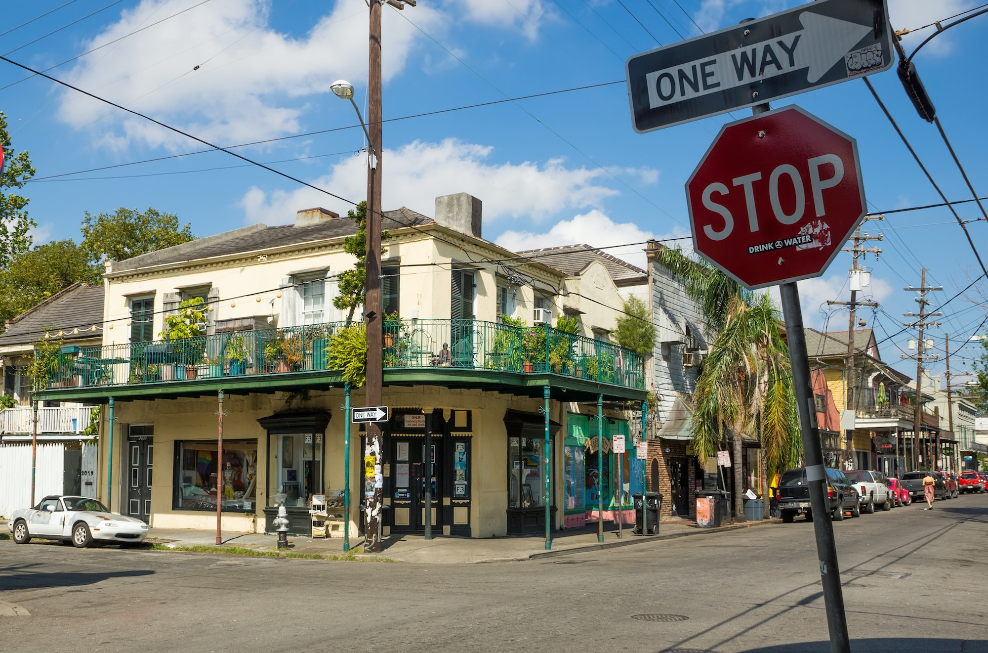 Cafés and shops line the streets of Faubourg Marigny, a bohemian New Orleans neighborhood east of the French Quarter.