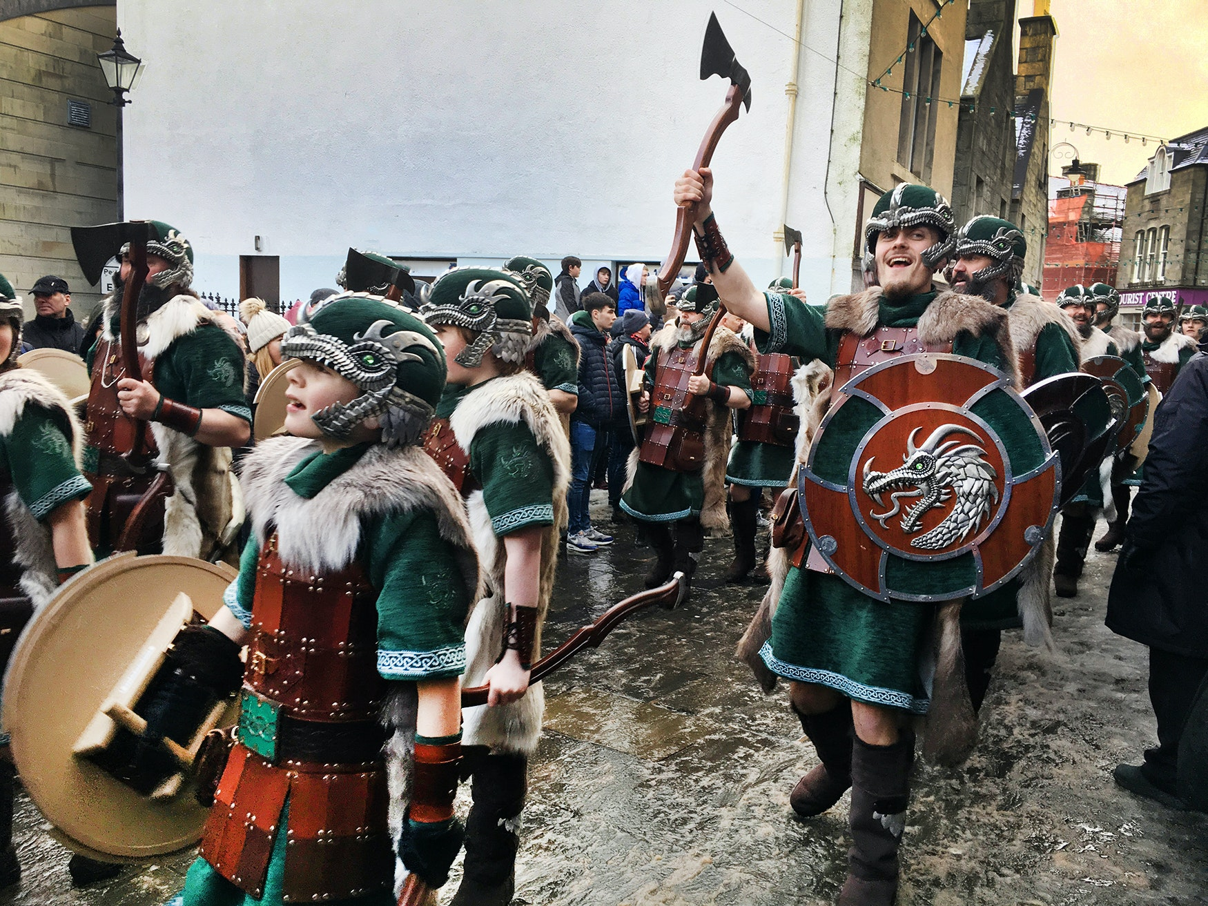 Up Helly Aa is celebrated in Lerwick every year on the last Tuesday in January.