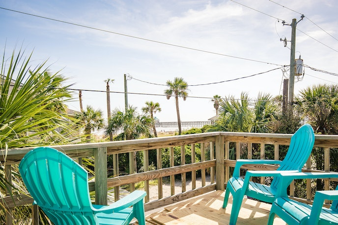 Before heading to the beach, enjoy your morning coffee on the roof deck at this beach house outside of Charleston.