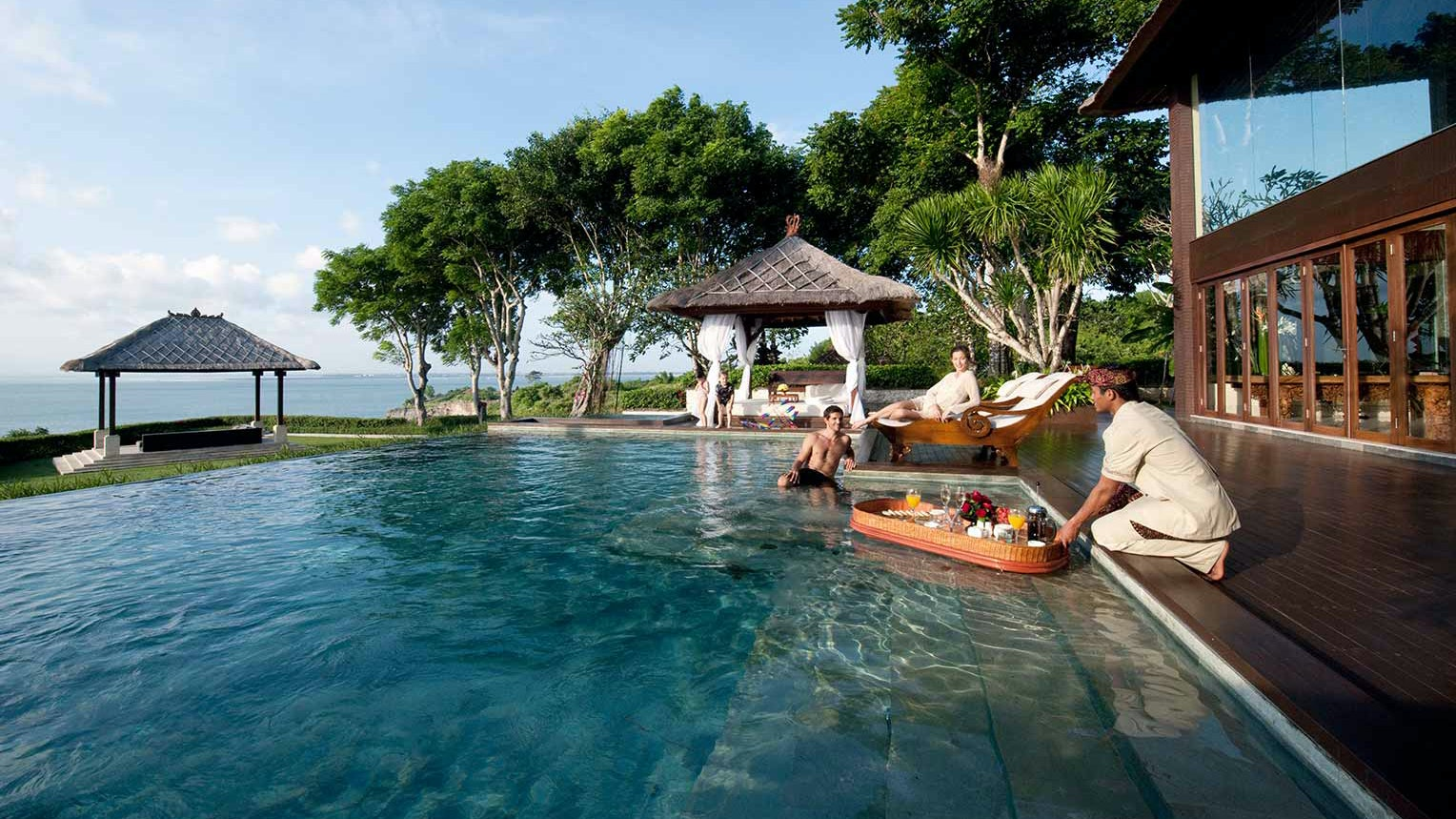 Start your V-Day in Bali in the pool with AYANA Resort's floating champagne breakfast.