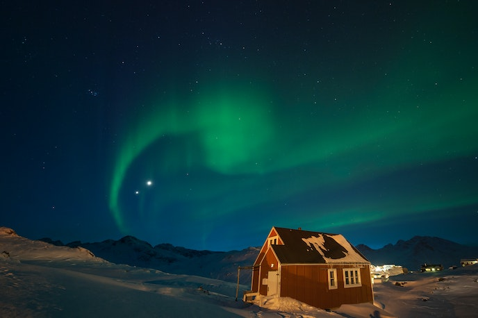 The northern lights occur year-round in Greenland but cannot be seen during summer due to the midnight sun.