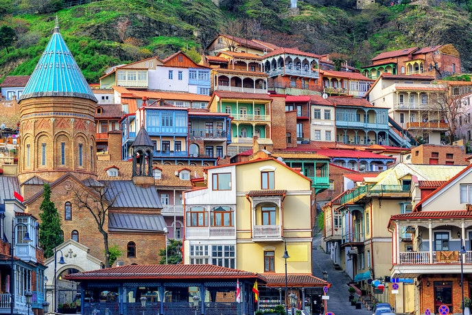 Tbilisi's old town center is known for its eclectic mix of architectural styles.