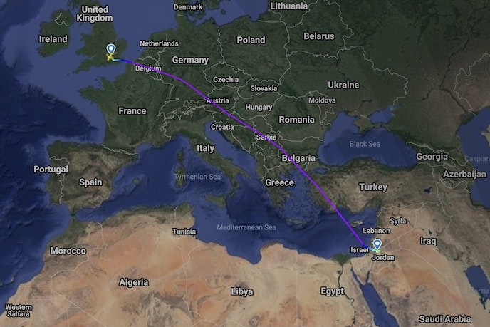 The route from London Heathrow Airport to Queen Alia International Airport in Amman